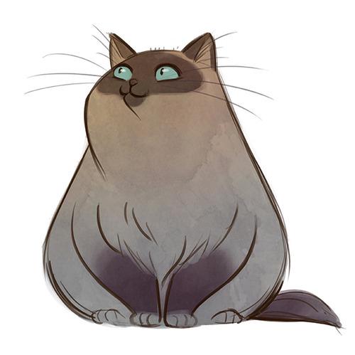 ilustración gato gris