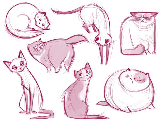dibujos gatos rosas