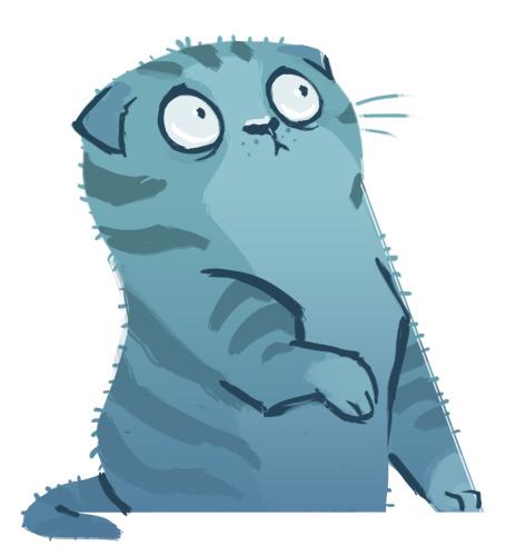 dibujo gato azul